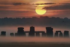 """Summer solstice sunrise at Stonehenge. (Credit & Copyright: Max Alexander, STFC, SPL) At one point in Earth's orbit the full 23.5 degree tilt of the North Pole is towards the Sun. That is the June Solstice when the Sun is at its highest in the northern sky, and within the Arctic Circle it doesn't set. In the southern hemisphere the Sun doesn't rise in the Antarctic Circle. ©Mona Evans, """"Why Planets Have Seasons"""" http://www.bellaonline.com/articles/art54046.asp"""