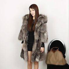 Beautiful Collarless/Hood Fox Fur Casual/Party Coat – USD $ 1,399.99