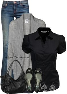 dressy neutral casual outfit. love the gray top