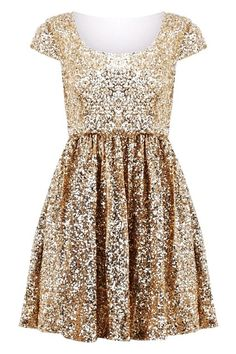 Glitter Gold Sequin Winter PArty Dresses (
