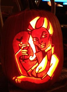 Bloody Mary pattern from Stoneykins.com Carved by WynterSolstice on a real pumpkin
