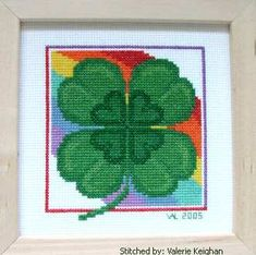 St Patricks Day Shamrock cross stitch pattern.