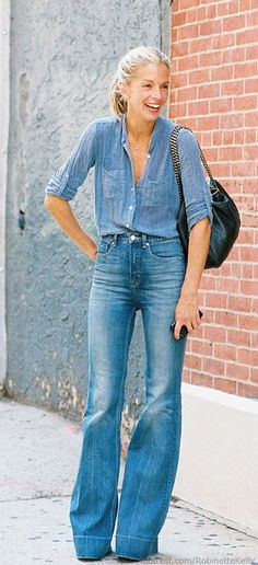 Meredith Melling Burke in wide-leg denim and a chambray shirt