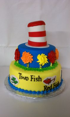 Dr. Suess Cat in the Hat themed cake