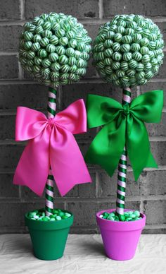 Click here for more lollipop bouquets, arrangements and more! Large Lollipop Topiary Pink and Green x 2 by EdibleWeddings on Etsy, $69.99. Pink, Green Lollipop, Topiary, Tree, Jelly beans, Birthday, Wedding, Rehearsal Dinner, Bridal Shower, Baby Shower, Custom, Customized, Centerpiece, Aisle decor, Discount