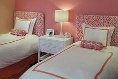 bedroom decor, guest bedrooms, color combos, girl bedrooms, twin beds, guest rooms, pink bedrooms, upholstered headboards, girl rooms