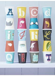 Vintage A-Z Paper Cups