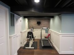 Basement exercise area.