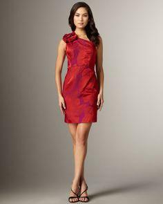One shoulder rosette cocktail dress by Kay Unger