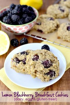 These Lemon Blackberry Breakfast Cookies are dairy, egg, and gluten free! | iowagirleats.com