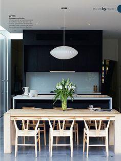 black cabinets, white counter