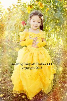 Belle Princess inspired Dress Costume Halloween by 7dwarfsworkshop, $55.00
