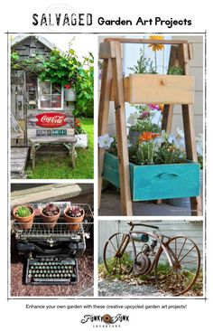 Salvaged garden art projects - cool upcycled creations you can make yourself to enhance your own garden! via FunkyJunkInteriors.net