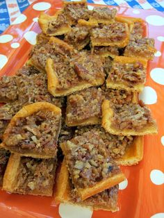 Crescent roll pecan bars...The crescent rolls make them SO easy to prepare.  They are great as party favors, wrapped in cello.