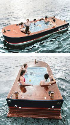 Ride a hot tub boat!