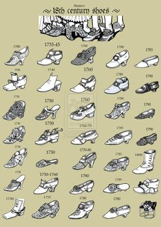 A mishmash of men's and women's shoes from throughout the 18th century.