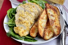 Parmesan-Garlic Chicken with Roasted Potato Wedges by Iowa Girl Eats