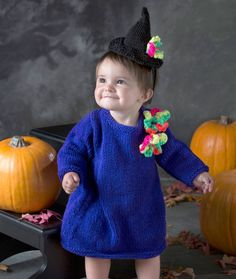 Baby Witch Dress & Hat Free Knitting Pattern from Red Heart Yarns