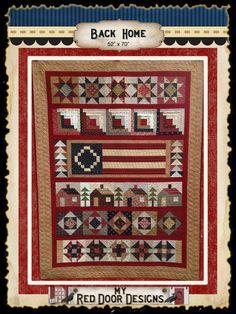 red doors, quilting patterns, back home, door design, quilt patterns, quilt kits, homes, row quilt, patriot