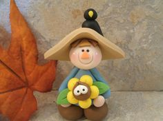 Fall Scarecrow and Crow  Figurine by countrycupboardclay on Etsy, $11.95