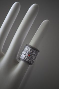 Silver Snowflake Textile Jewelry Ring Gray  Hand by Waterrose, $14.00