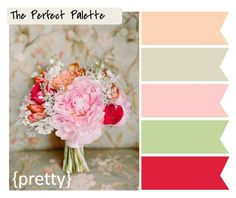 Pretty Vintage Rose color palette.  peach, taupe, light pink, sea foam green, & red