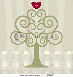 heart bird tree love