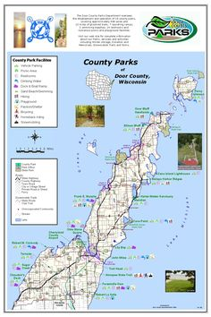 Door County Park Map, WI, USA