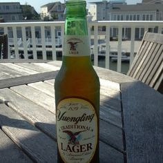 Yuengling Lager on the back deck. Contemplating tides. July 16, 2012