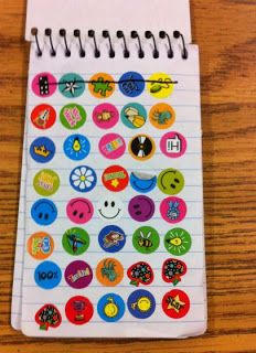 Give each child a notebook to collect stickers...spend at store on Friday.
