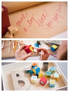 Such a cute idea! Have guests paint baby blocks at a baby shower!! Perfect activity / game! More ideas via Kara's Party Ideas KarasPartyIdeas.com