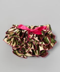 Green & Pink Camo Ruffle Satin Diaper Cover