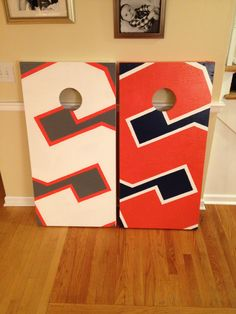 Syracuse University Cornhole Boards.  100% Hand Painted. Danscustomgames.com