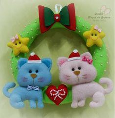 Mila Arts - moldes e PAP: Passo a passo guirlanda natalina Gatinhos felt cat, guirlanda de