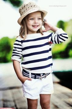 Kids Summer Outfits, Little Girls, Nautical Stripes, Summer Style