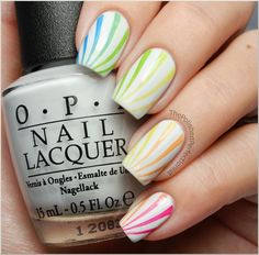Rainbow Candy Cane Nails