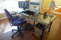 Reclaimed Wood Pipe Desk with Side Shelves #deskweek #KeeKlamp