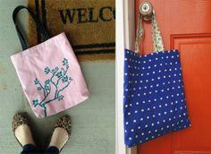 #DIY Tote Bag | Perfect to carry as a work bag or a grocery/market bag | Created with Ed Roth's Stencil 1 | Supplies available at Jo-Ann Fabric and Craft Stores | #stencil1 #edroth #stenciling #crafts #diy #plaidcrafts #folkart @Evan Sharp D Roth / Stencil1