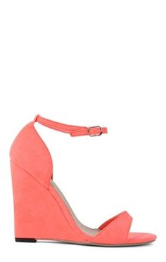 Deb Shops #Coral Open Toe Platform #Wedge with Strap Across Toe and Ankle Strap $19.74