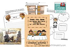 Activities to go with the read aloud book, Thank you Sarah.  FREE!