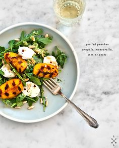 I want for lunch! Grilled Peach Salad with Mint and Basil Pesto #recipe by @lovelemonsfood