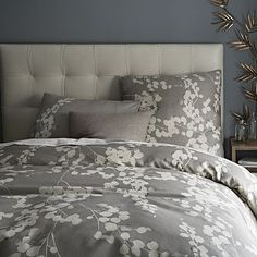 """Moonflower Duvet Cover + Shams #westelm, I love this!  Remember, the duvet will be rolled at the end of the bed, so it won't look as """"feminine"""" as it does in this photo.  We could do a plain cream coverlet, and accent with any color you like!  What do you think?"""