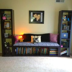 DIY reading nook! Book shelves from Ikea, bench made from wood, fabric, and egg crate! - have a long empty wall this would work perfectly in!