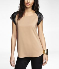 Express Leather Sleeve Top