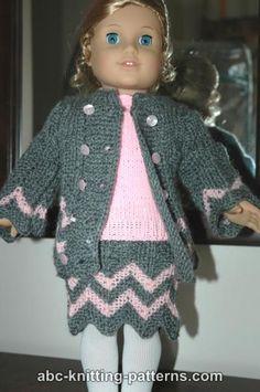 ABC Knitting Patterns - American Girl Doll Chevron Skirt sport yarn