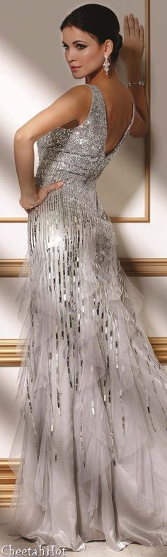 JOVANI - Authentic Designer Dress - Stunning Full Length Silver Gown