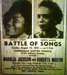 """Golden Era Gospel SMACKDOWN!!!! """"BATTLE OF SONGS"""" between Mahalia Jackson and Roberta Martin."""
