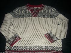 GIRLS LL BEAN NORDIC WINTER SWEATER SNOWFLAKE CHRISTMAS BLACK WHITE RED M 10 12 #LLBean #Nordic #EverydayHoliday