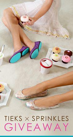 Tieks x Sprinkles Giveaway: www.tieks.com/tieksxsprinkles. Three lucky Tieks fans will win a $200 Tieks gift card, 10 pints of Sprinkles ice cream and 2 dozen cupcakes! Ends 5/2 at 11:59pm PDT. #TieksGiveawaySeries
