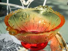 Vintage Sunrise Iris Glass Candy Dish or Bowl by RustIsVogue